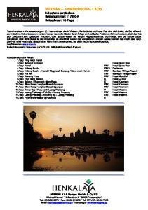 VIETNAM KAMBODSCHA- LAOS Indochina entdecken Reisenummer: F Reisedauer: 15 Tage