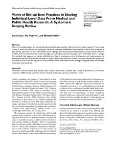 Views of Ethical Best Practices in Sharing Individual-Level Data From Medical and Public Health Research: A Systematic Scoping Review
