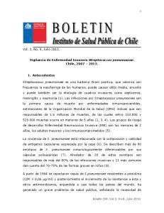 Vigilancia de Enfermedad Invasora Streptococcus pneumoniae. Chile,