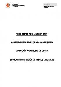 VIGILANCIA DE LA SALUD 2012