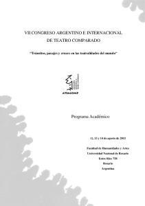 VII CONGRESO ARGENTINO E INTERNACIONAL DE TEATRO COMPARADO