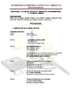 VII CONGRESO INTERNACIONAL DE DERECHO DEL TRABAJO Y LA SEGURIDAD SOCIAL