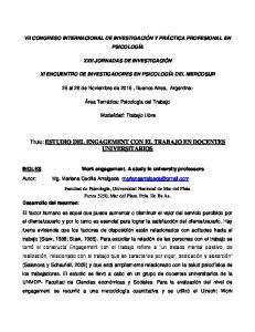 VII CONGRESO INTERNACIONAL DE INVESTIGACIÓN Y PRÁCTICA PROFESIONAL EN PSICOLOGÍA XXII JORNADAS DE INVESTIGACIÓN
