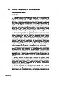 VII. Derechos y obligaciones de terceros deudores