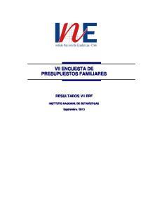 VII ENCUESTA DE PRESUPUESTOS FAMILIARES