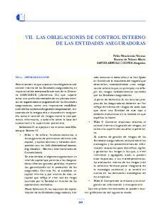 VII. LAS OBLIGACIONES DE CONTROL INTERNO DE LAS ENTIDADES ASEGURADORAS