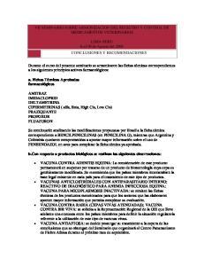 VII SEMINARIO SOBRE ARMONIZACION DEL REGISTRO Y CONTROL DE MEDICAMENTOS VETERINARIOS