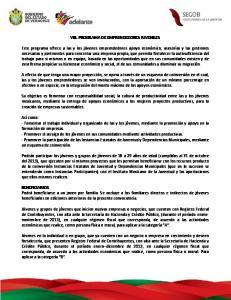 VIII. PROGRAMA DE EMPRENDEDORES JUVENILES