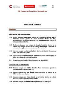 VIII Programa de Jóvenes Líderes Iberoamericanos AGENDA DE TRABAJO