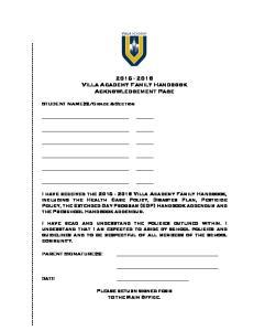 Villa Academy Family Handbook Acknowledgement Page