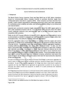 VILLAGE OF ELMWOOD PARK OPT-IN ELECTRIC AGGREGATION PROGRAM PLAN OF OPERATION AND GOVERNANCE