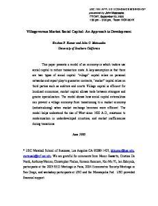 Village versus Market Social Capital: An Approach to Development