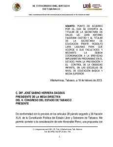 Villahermosa, Tabasco, a 18 de febrero de 2013