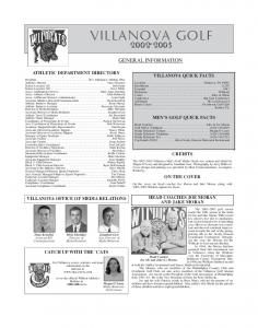 Villanova Golf GENERAL INFORMATION ATHLETIC DEPARTMENT DIRECTORY VILLANOVA QUICK FACTS MEN S GOLF QUICK FACTS CREDITS ON THE COVER