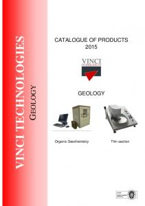 VINCI TECHNOLOGIES GEOLOGY CATALOGUE OF PRODUCTS 2015
