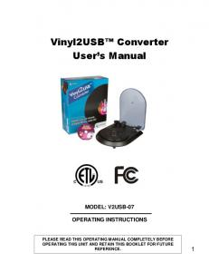 Vinyl2USB Converter User s Manual