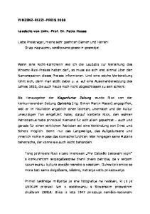VINZENZ-RIZZI-PREIS Laudatio von Univ.-Prof. Dr. Petra Hesse