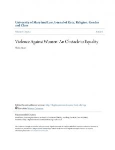 Violence Against Women: An Obstacle to Equality