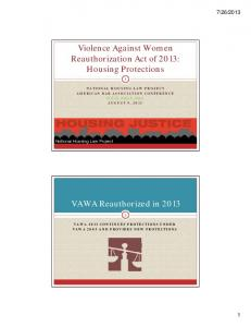 Violence Against Women Reauthorization Act of 2013: Housing Protections