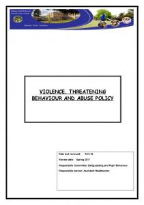 VIOLENCE, THREATENING BEHAVIOUR AND ABUSE POLICY