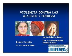 VIOLENCIA CONTRA LAS MUJERES Y POBREZA