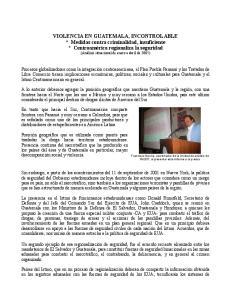 VIOLENCIA EN GUATEMALA, INCONTROLABLE
