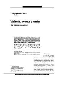 Violencia, juventud y medios de comunicación