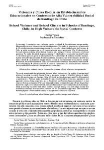 Violencia y Clima Escolar en Establecimientos Educacionales en Contextos de Alta Vulnerabilidad Social de Santiago de Chile