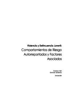 Violencia y Delincuencia Juvenil: Comportamientos de Riesgo Autorreportados y Factores Asociados. Andreas Hein Gonzalo Barrientos