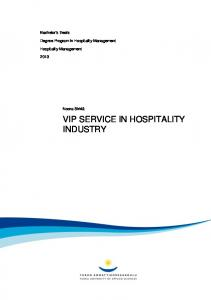 VIP SERVICE IN HOSPITALITY INDUSTRY