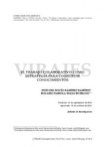 VIRAJES EL TRABAJO COLABORATIVO COMO ESTRATEGIA PARA CONSTRUIR CONOCIMIENTOS