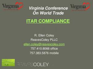Virginia Conference On World Trade ITAR COMPLIANCE