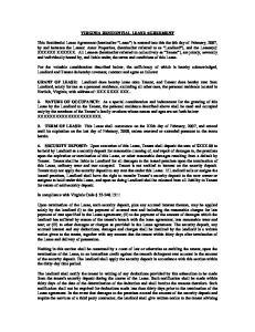 VIRGINIA RESIDENTIAL LEASE AGREEMENT