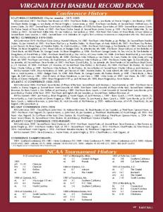 VIRGINIA TECH BASEBALL RECORD BOOK