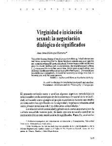 Virginidad e iniciacion sexual: la negociacion dialogica de significados