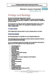 Virology and Serology