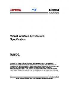 Virtual Interface Architecture Specification