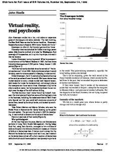 Virtual reality, real psychosis