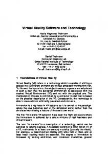 Virtual Reality Software and Technology