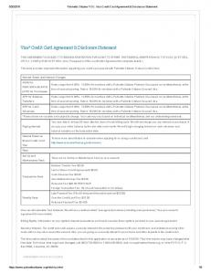 Visa Credit Card Agreement & Disclosure Statement
