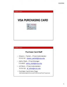 VISA PURCHASING CARD