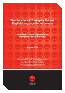 Visa Subclass 457 Integrity Review: English Language Requirements