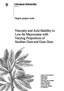 Viscosity and Acid Stability in Low-fat Mayonnaise with Varying Proportions of Xanthan Gum and Guar Gum
