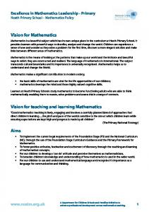 Vision for Mathematics. Vision for teaching and learning Mathematics. Aims