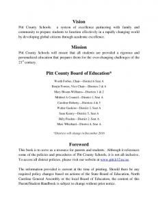 Vision. Mission. Pitt County Board of Education*