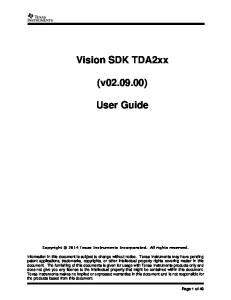 Vision SDK TDA2xx. (v ) User Guide