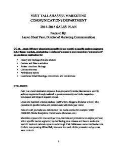 VISIT TALLAHASSEE MARKETING COMMUNICATIONS DEPARTMENT SALES PLAN