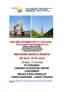 VISITARAN: LONDRES-FOLKESTONE-DOVER- CANTERBURY BRUJAS-PARIS-VERSALLES DISNEYLANDPARIS DISNEY STUDIOS