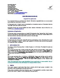 VISITOR VISA CHECKLIST. A guide for applicants