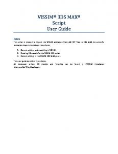 VISSIM 3DS MAX Script User Guide